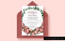 2合1花卉装饰新娘送礼婚礼邀请函设计模板 2 FOR 1 Bridal Shower Invitations