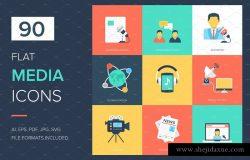 90个平面媒体广告图标 90 Media Flat Icons