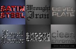 金属材质PS图层样式 Metal Photoshop Styles Pack 2