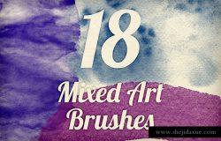 18款高分辨率水彩纹理PS笔刷 Mixed Art Brush Pack 1