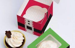 单只装纸杯蛋糕甜点包装盒设计效果图样机01 One Cupcake Box Mockup