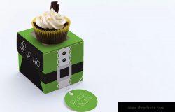 单个装纸杯蛋糕包装盒样机模板03 One Cupcake Box Mockup