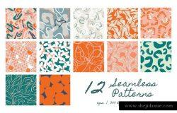 多彩抽象有机线条涂鸦纹理 Organic Forms | Patterns + ArtBoards