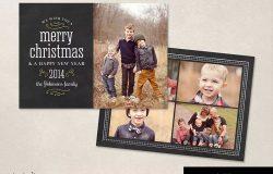 圣诞节日黑板背景贺卡明信片模板 Christmas Card Template Chalkboard