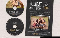 假日迷你传单模板及CD标签模板 Holiday Minis Flyer + cd labels