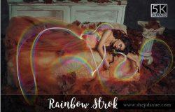5K分辨率彩虹笔画叠层背景 5K Rainbow Strokes Overlays
