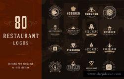 80款西餐厅品牌Logo和徽标模板 80 Restaurant Logotypes and Badges
