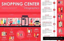 12款购物主题扁平设计风格信息图表 12 Shopping Flat Infographics