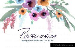 水彩花卉剪贴画合集 Persuasion-Watercolor Clip Art