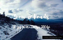欧洲冬天雪景乡村公路高清照片素材
