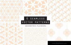 一套6种几何花卉无缝矢量图案 Geometric Flowers Patterns