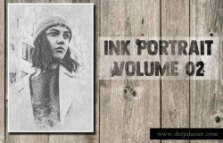 墨水肖像画照片效果PS动作 Ink Portrait Volume 02