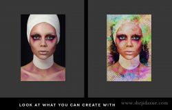 2个创意肖像抽象油画PS动作