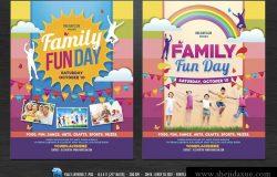 家庭聚会派对活动海报传单模板 Family Fun Day Flyers