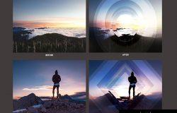 几何科幻照片效果处理PSD模板 Geometric Haze Photoshop Template
