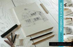 炭画&素描艺术作品展示样机模板 Charcoal & Sketch Mockup