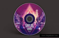 城市天际线音乐CD封面模板