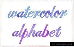 手绘水彩英文字母插画 Watercolor Alphabet, Painted Letters
