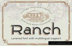 老式手绘艺术电影英文字体 Ranch typeface + bonus