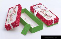 矩形礼品盒包装设计效果图样机03 Rectangular Gift Box Mockup