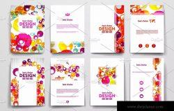 一套彩色抽象风格小册子模板 Colourful brochure templates