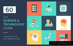 60个科学技术主题扁平矢量图标 60 Science and Technology Flat Icons