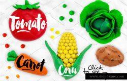 橡皮水果与蔬菜插画素材