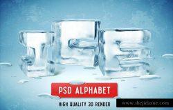 独特的3D冰块字母素材下载