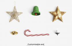新鲜的圣诞节必备的小挂件素材打包下载[PSD]