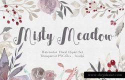 独特的手绘花卉树叶水彩图案 Misty Meadow Floral Clipart Set
