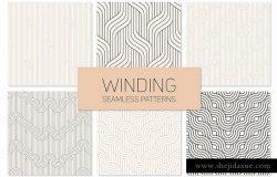 曲线线条几何图形花样素材 Winding Seamless Patterns. Set 2