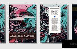最小的现代封面模板。时尚邀请最小大理石纹理图案。埃布鲁公司形象流动画背景。简单设计介绍杂志封面品牌标题页