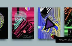 涵盖模板设置与鲍豪斯孟菲斯和嬉皮士风格,图形几何和小故障元素。适用于标语牌、小册子、海报、封面和横幅。矢量图