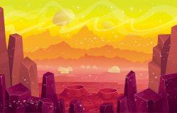 梦幻城上的火星矢量卡通景观。游戏和移动应用的背景。