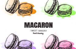 马卡龙马卡龙素描集。马卡龙甜面包矢量图。