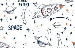 手绘空间元素无缝图案。太空背景。太空涂鸦插图。