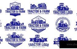 向量集拖拉机标志或农场标志模板收集,适合于任何与农场工业有关的业务。简单而复古的外观。