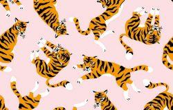 矢量无缝图案与可爱的老虎在粉红色的背景。马戏团动物表演。时尚面料设计。