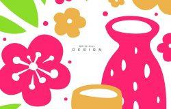 东方花叶水壶杯牌,带有传统亚洲图案,原始设计,装饰元素,彩色矢量图。