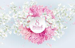 菊花和苹果在3月8日开花。水彩画图案的花卉矢量贺卡