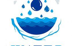 用于矿泉水广告的纯水矢量抽象标志型。与自然和谐相处。