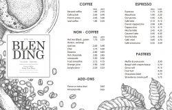 海报或菜单模板的老式咖啡插图。使用钢笔和墨水素描技术。