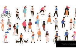一群人从事夏季户外活动–遛狗、骑自行车、滑板。一组男女平面卡通人物分别在白色背景下被隔离。矢量图