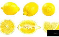 在白色背景上分离的新鲜黄色柠檬的收集。一组多幅图像。系列的一部分