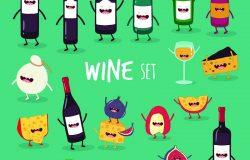 这是葡萄酒图标集。这是一杯有趣的酒瓶和奶酪。你可以用卡片,冰箱,磁铁,贴纸,海报。