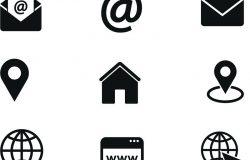 联系我们的图标。简单的矢量图标设置在白色背景。电话,智能手机,电子邮件,位置,房子,全球地址聊天。