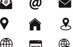 联系我们的图标。简单的矢量图标设置在白色背景。