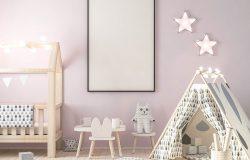儿童室内3D渲染中的帧海报