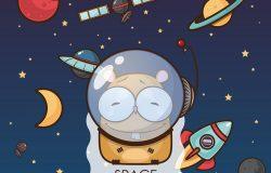 太空之爱。带有矢量动物特征的卡片