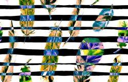 水彩羽毛和线条的无缝图案。可用于纺织品印花设计,瓷砖,墙纸,抽象背景。泳装设计。
